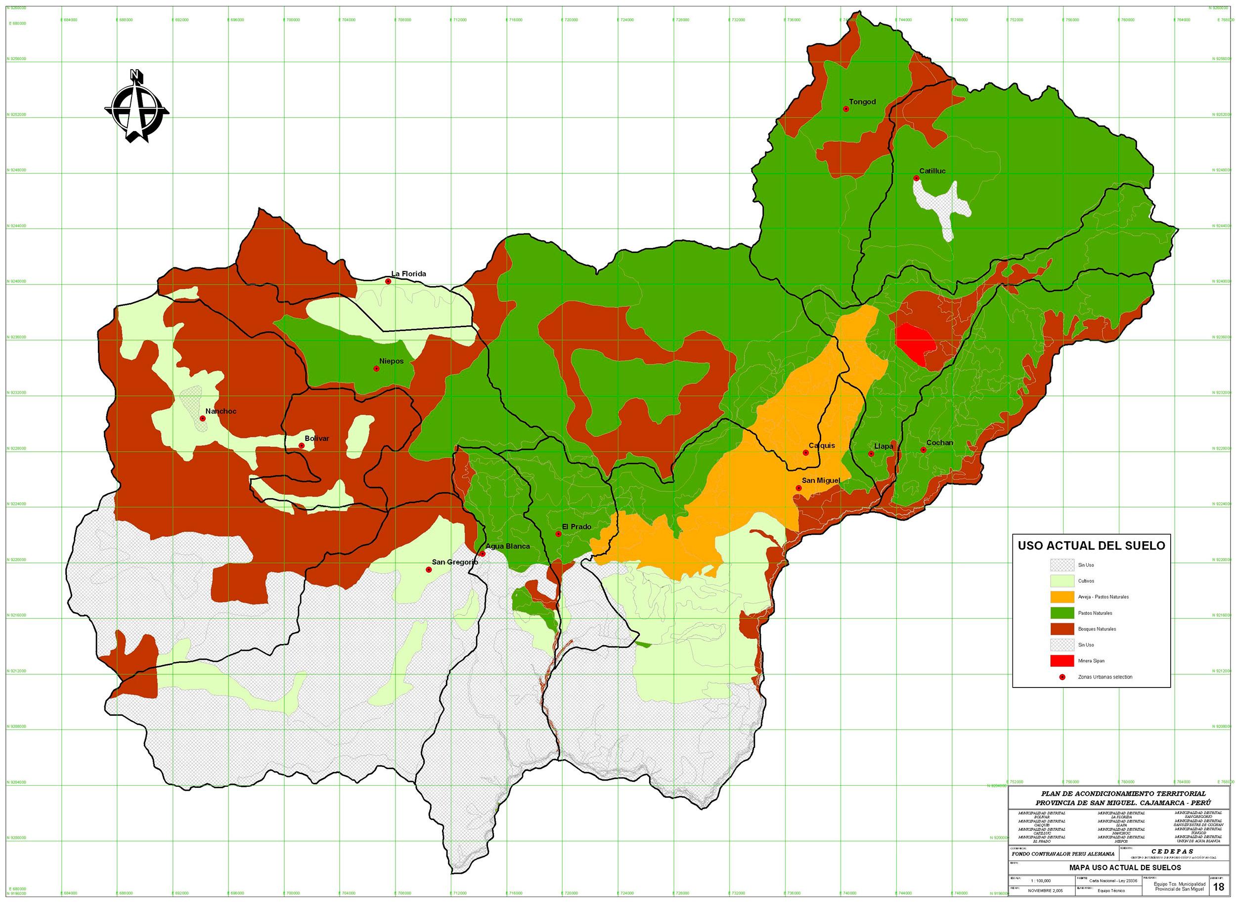 mapa uso actual de suelos de la provincia de san miguel